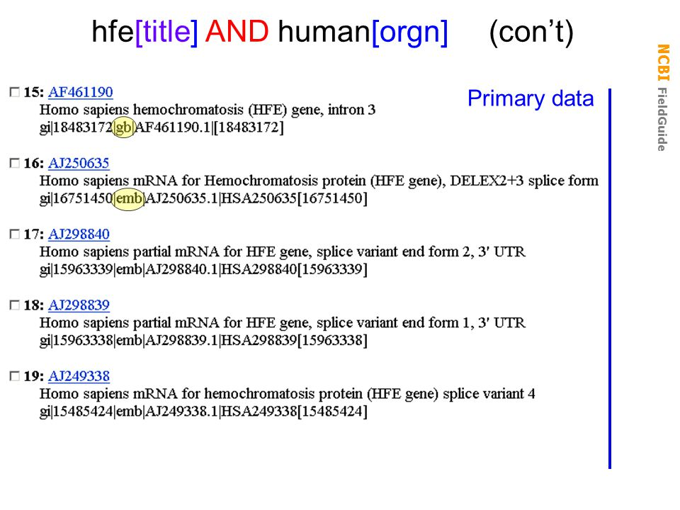 hfe[title] AND human[orgn] (con't)